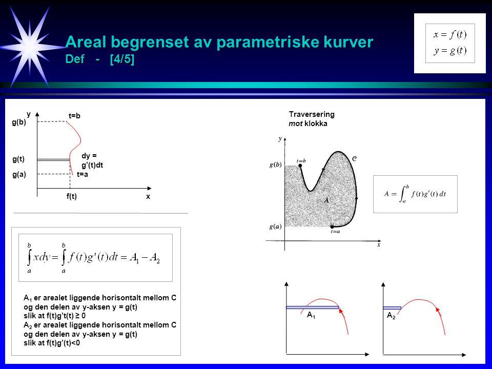 Areal begrenset av parametriske kurver Def - [4/5]